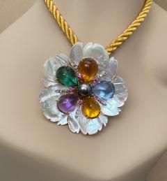 Michael Kneebone Michael Kneebone Amethyst Citrine Topaz Pink Sapphire Diamond Flower Pendant - 1668795