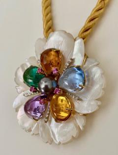 Michael Kneebone Michael Kneebone Amethyst Citrine Topaz Pink Sapphire Diamond Flower Pendant - 1668796