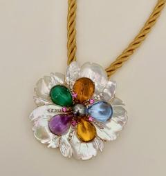 Michael Kneebone Michael Kneebone Amethyst Citrine Topaz Pink Sapphire Diamond Flower Pendant - 1668797