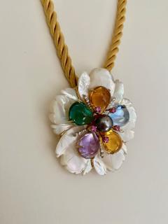 Michael Kneebone Michael Kneebone Amethyst Citrine Topaz Pink Sapphire Diamond Flower Pendant - 1668798