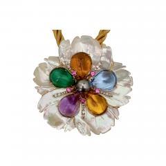 Michael Kneebone Michael Kneebone Amethyst Citrine Topaz Pink Sapphire Diamond Flower Pendant - 1670941