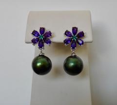 Michael Kneebone Michael Kneebone Amethyst Emerald Pistachio Tahitian Pearl Dangle Earrings - 1105633
