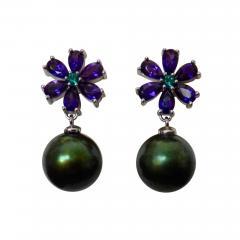 Michael Kneebone Michael Kneebone Amethyst Emerald Pistachio Tahitian Pearl Dangle Earrings - 1106914
