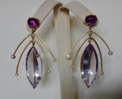 Michael Kneebone Michael Kneebone Amethyst Kinetic Dangle Earrings Tile Pearl Necklace Suite - 997455