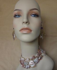 Michael Kneebone Michael Kneebone Amethyst Kinetic Dangle Earrings Tile Pearl Necklace Suite - 997457