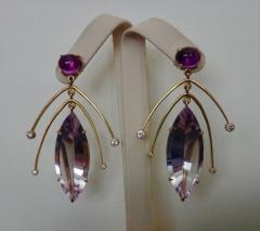 Michael Kneebone Michael Kneebone Amethyst Kinetic Dangle Earrings Tile Pearl Necklace Suite - 997458