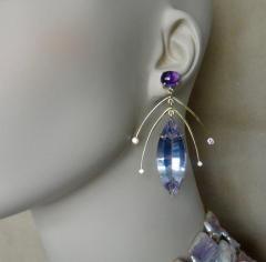 Michael Kneebone Michael Kneebone Amethyst Kinetic Dangle Earrings Tile Pearl Necklace Suite - 997460