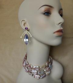 Michael Kneebone Michael Kneebone Amethyst Kinetic Dangle Earrings Tile Pearl Necklace Suite - 997461