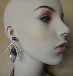 Michael Kneebone Michael Kneebone Amethyst Kinetic Dangle Earrings Tile Pearl Necklace Suite - 997463