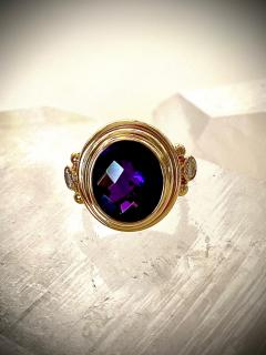 Michael Kneebone Michael Kneebone Amethyst White Diamond Archaic Style Cocktail Ring - 1386639