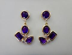 Michael Kneebone Michael Kneebone Amethyst White Diamond Confetti Dangle Earrings - 996381