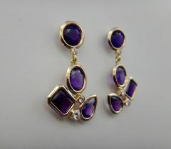 Michael Kneebone Michael Kneebone Amethyst White Diamond Confetti Dangle Earrings - 996385