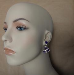 Michael Kneebone Michael Kneebone Amethyst White Diamond Confetti Dangle Earrings - 996386