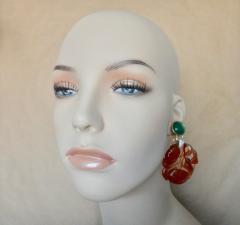 Michael Kneebone Michael Kneebone Antique Chinese Carnelian Chalcedony Diamond Dangle Earrings - 1013539