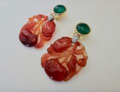 Michael Kneebone Michael Kneebone Antique Chinese Carnelian Chalcedony Diamond Dangle Earrings - 1013541