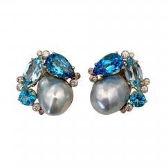 Michael Kneebone Michael Kneebone Apatite Blue Topaz Diamond 18k Gold Confetti Earrings - 1719508