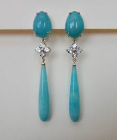 Michael Kneebone Michael Kneebone Aqua Blue Chalcedony Aquamarine Amazonite Dangle Earrings - 1300834