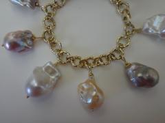 Michael Kneebone Michael Kneebone Baroque Colored Pearl 18 Karat Gold Charm Bracelet - 1021728