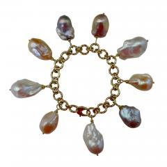 Michael Kneebone Michael Kneebone Baroque Colored Pearl 18 Karat Gold Charm Bracelet - 1022334
