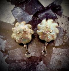 Michael Kneebone Michael Kneebone Baroque Pearl Diamond Crystal Briolette Dangle Earrings - 1631195
