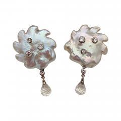Michael Kneebone Michael Kneebone Baroque Pearl Diamond Crystal Briolette Dangle Earrings - 1636224