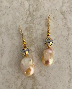 Michael Kneebone Michael Kneebone Baroque Pearl Diamond Granulated Bead Dangle Earrings - 1898223