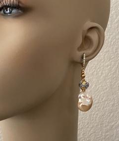 Michael Kneebone Michael Kneebone Baroque Pearl Diamond Granulated Bead Dangle Earrings - 1898224