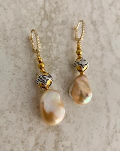 Michael Kneebone Michael Kneebone Baroque Pearl Diamond Granulated Bead Dangle Earrings - 1898226