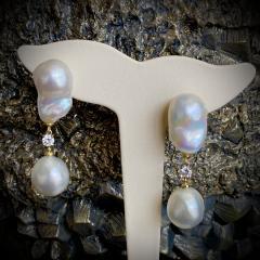 Michael Kneebone Michael Kneebone Baroque South Seas Pearl Diamond Dangle Earrings - 1963371