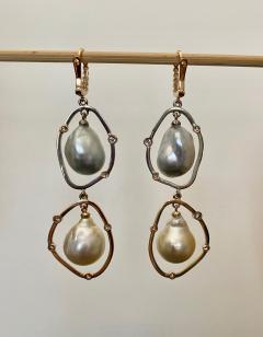 Michael Kneebone Michael Kneebone Baroque Tahitian Pearl South Seas Pearl Diamond Dangle Earrings - 1490857