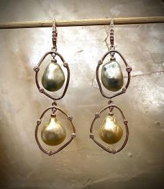 Michael Kneebone Michael Kneebone Baroque Tahitian Pearl South Seas Pearl Diamond Dangle Earrings - 1490859