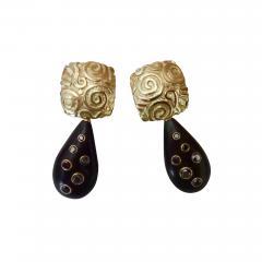 Michael Kneebone Michael Kneebone Black Diamond Ebony 18k Gold Petroglyph Dangle Earrings - 1291645