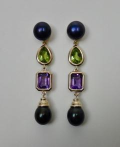 Michael Kneebone Michael Kneebone Black Pearl Peridot Amethyst Dangle Earrings - 1310626