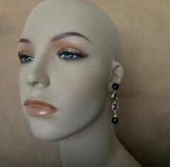 Michael Kneebone Michael Kneebone Black Pearl Peridot Amethyst Dangle Earrings - 1310641
