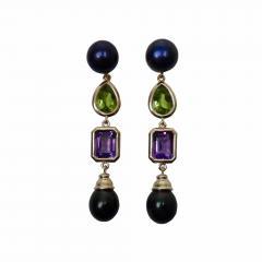 Michael Kneebone Michael Kneebone Black Pearl Peridot Amethyst Dangle Earrings - 1316908
