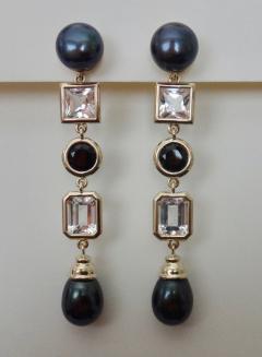 Michael Kneebone Michael Kneebone Black Pearl White Topaz Black Spinel Dangle Earrings - 1300694