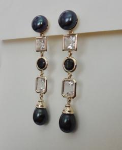 Michael Kneebone Michael Kneebone Black Pearl White Topaz Black Spinel Dangle Earrings - 1300698