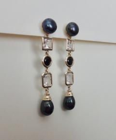 Michael Kneebone Michael Kneebone Black Pearl White Topaz Black Spinel Dangle Earrings - 1300700