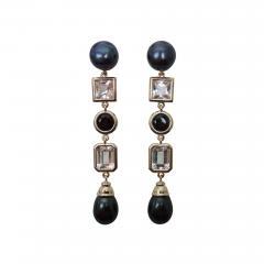 Michael Kneebone Michael Kneebone Black Pearl White Topaz Black Spinel Dangle Earrings - 1301065