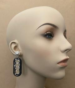 Michael Kneebone Michael Kneebone Black Shagreen White Pearl Diamond Dangle Earrings - 1651710