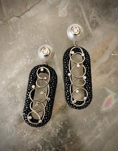Michael Kneebone Michael Kneebone Black Shagreen White Pearl Diamond Dangle Earrings - 1651711