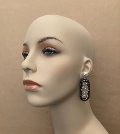 Michael Kneebone Michael Kneebone Black Shagreen White Pearl Diamond Dangle Earrings - 1651712