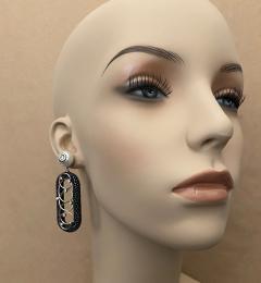 Michael Kneebone Michael Kneebone Black Shagreen White Pearl Diamond Dangle Earrings - 1651716