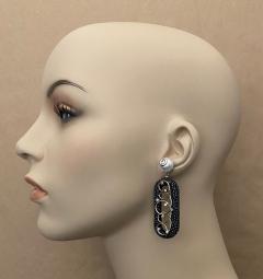 Michael Kneebone Michael Kneebone Black Shagreen White Pearl Diamond Dangle Earrings - 1651718