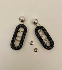 Michael Kneebone Michael Kneebone Black Shagreen White Pearl Diamond Dangle Earrings - 1651720
