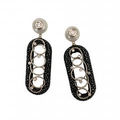 Michael Kneebone Michael Kneebone Black Shagreen White Pearl Diamond Dangle Earrings - 1651965