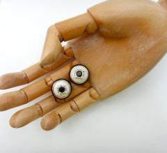 Michael Kneebone Michael Kneebone Black Spinel White Coral Diamond Onyx Button Earrings - 1058522