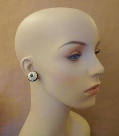 Michael Kneebone Michael Kneebone Black Spinel White Coral Diamond Onyx Button Earrings - 1058526
