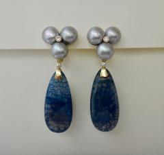 Michael Kneebone Michael Kneebone Blue Dragons Skin Agate Pearl Diamond Dangle Earrings - 1247345