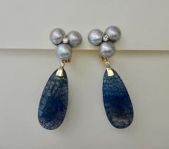 Michael Kneebone Michael Kneebone Blue Dragons Skin Agate Pearl Diamond Dangle Earrings - 1247347